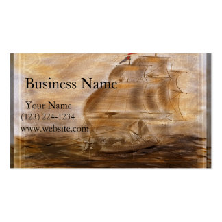 Schooner And Vintage Map Business Card Template