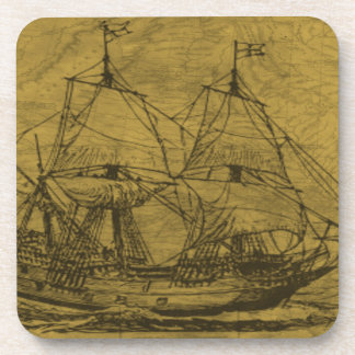 Schooner And Vintage Map Coaster