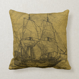 Schooner And Vintage Map Cushion