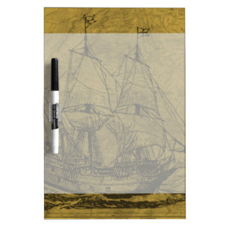 Schooner And Vintage Map Dry Erase Board