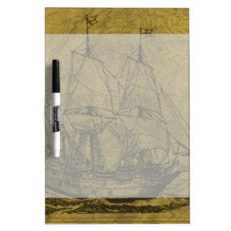 Schooner And Vintage Map Dry Erase White Board