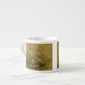 Schooner And Vintage Map Espresso Mug