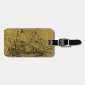 Schooner And Vintage Map Luggage Tag