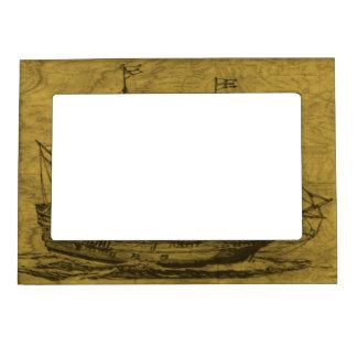 Schooner And Vintage Map Magnetic Frame
