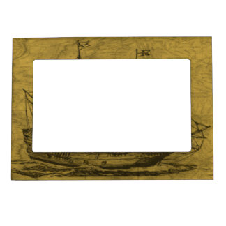 Schooner And Vintage Map Magnetic Picture Frame