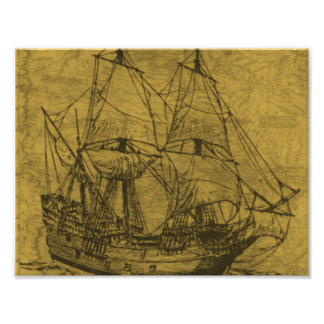 Schooner And Vintage Map Photo Print