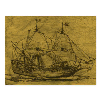 Schooner And Vintage Map Postcard