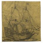 Schooner And Vintage Map Printed Napkins