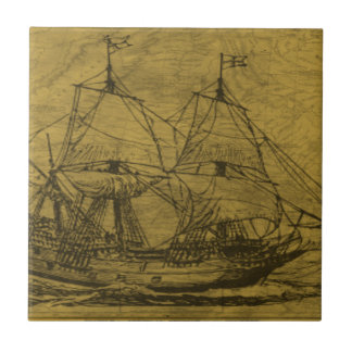 Schooner And Vintage Map Small Square Tile