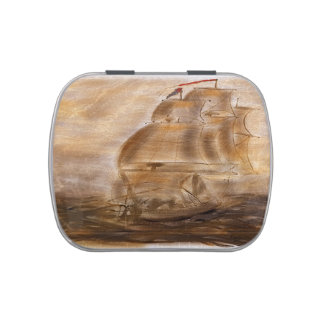 Schooner And Vintage Map Candy Tin
