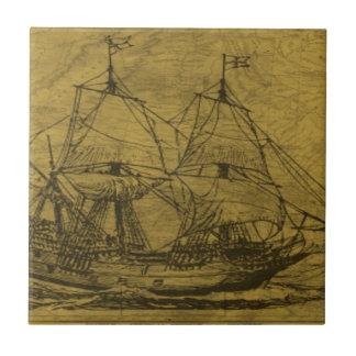 Schooner And Vintage Map Tile