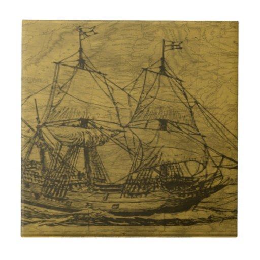 Schooner And Vintage Map Ceramic Tile
