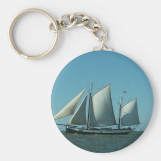 Schooner at Sea Basic Round Button Key Ring