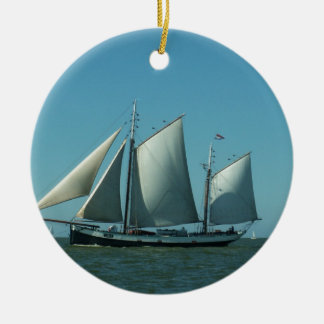 Schooner at Sea Christmas Ornament