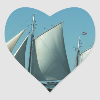Schooner at Sea Heart Sticker