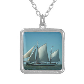 Schooner at Sea Silver Plated Necklace