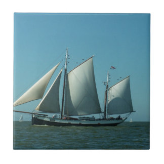 Schooner at Sea Small Square Tile