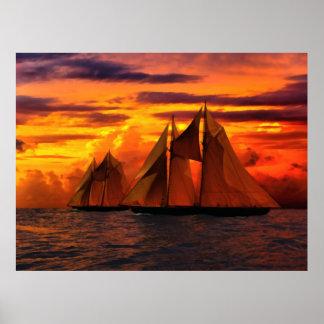 Schooner Bluenose at sunset II Poster