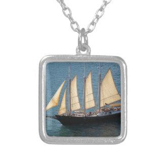 Schooner Boat Square Pendant Necklace
