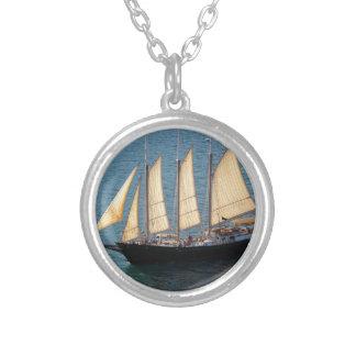 Schooner Boat Round Pendant Necklace