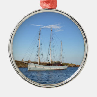 Schooner In The Isles Of Scilly Silver-Colored Round Decoration