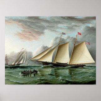 Schooner Mohawk of Sandy Hook Lighthouse Posters