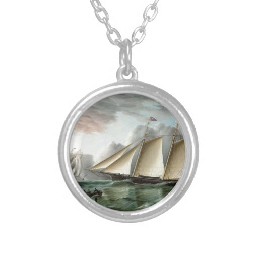 Schooner Mohawk off Sandy Hook Lighthouse Jewelry