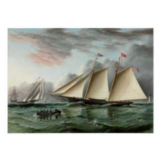 Schooner Mohawk off Sandy Hook Lighthouse Poster
