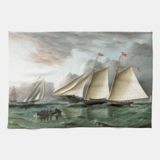 Schooner Mohawk off Sandy Hook Lighthouse Tea Towel