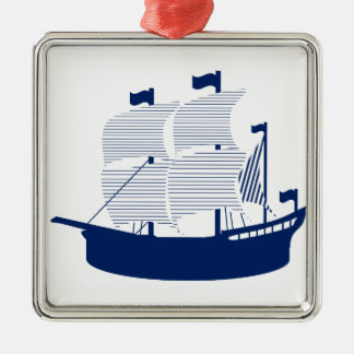 Schooner Navy Christmas Ornament