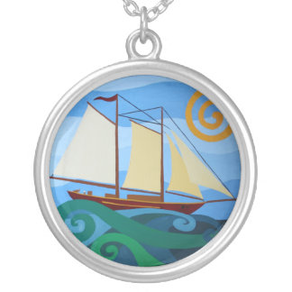 Schooner Round Pendant Necklace