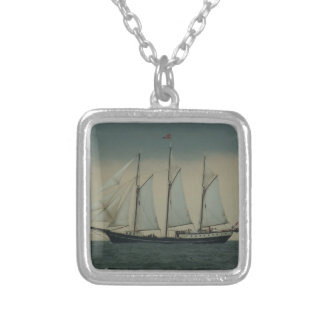 Schooner off the Dutch coast Silver Plated Necklace