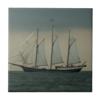 Schooner off the Dutch coast Small Square Tile