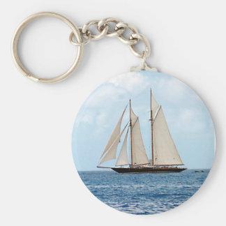 Schooner Sailboat in the BVI Basic Round Button Key Ring