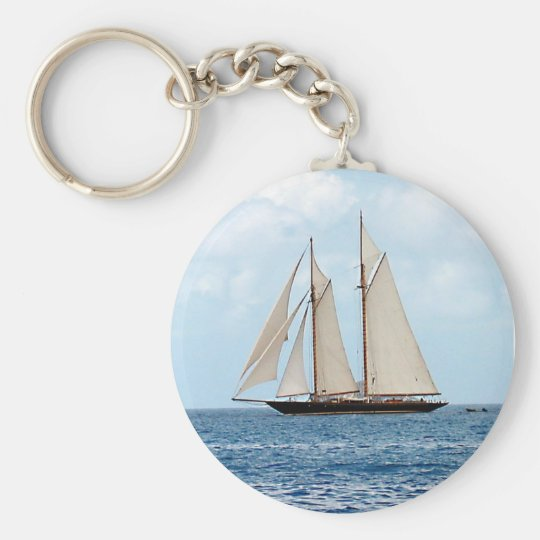 Schooner Sailboat in the BVI Basic Round Button Key Ring