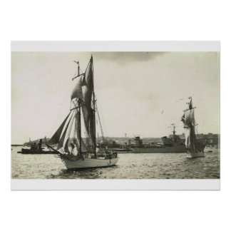 Schooners and naval vessels Brest Poster