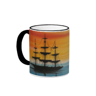 Schooners at Sunset Design Coffee Mug