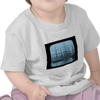 Schooners in Port Magic Lantern Slide Cyan T-shirt