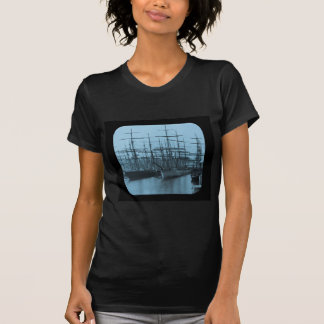 Schooners in Port Magic Lantern Slide Cyan Shirt