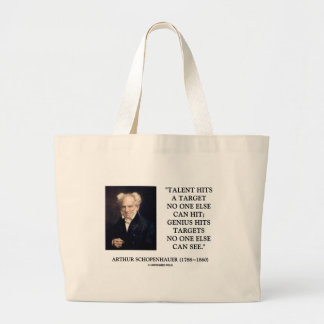 Schopenhauer Talent Genius Hits Targets No One See Jumbo Tote Bag