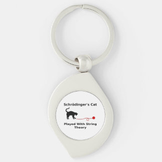 Schrödinger's Cat Played With String Theory Silver-Colored Swirl Key Ring