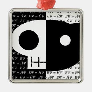 Schrödinger's Cat Silver-Colored Square Decoration
