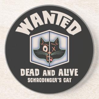 Schrodinger s Cat Wanted Beverage Coaster