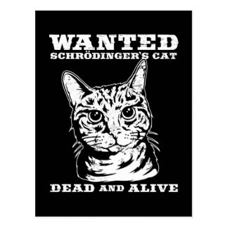 Schrodinger s cat wanted dead or alive post card