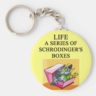 schrodinger's cat box joke basic round button key ring