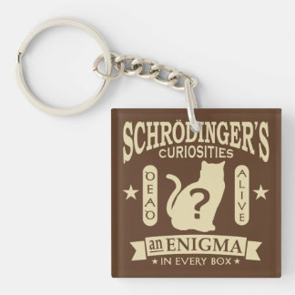Schrodinger's Cat Dead or Alive Quantum Mechanics Double-Sided Square Acrylic Key Ring
