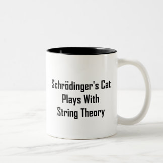 Schrodinger's Cat Plays With String Theory Two-Tone Mug