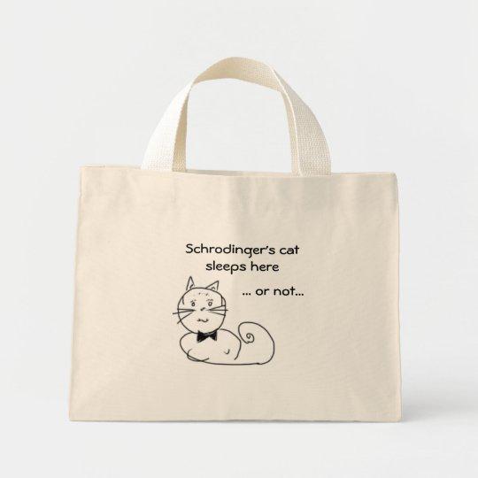 Schrodinger's cat sleeps here... mini tote bag
