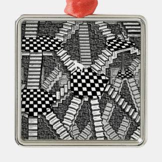 schrodinger's cat's dreams Silver-Colored square decoration