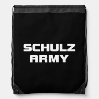 Schulz Army Black Drawstring Backpack